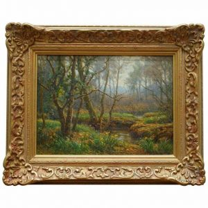 FREDERICK GOLDEN SHORT NEW FOREST WOODLAND SIGNED & DATED 1920 OIL PAINTING