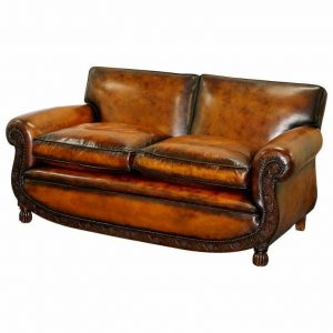 LUXURY VICTORIAN HAND DYED AGED BROWN LEATHER TWO SEAT SOFA HAND CARVED FLORAL