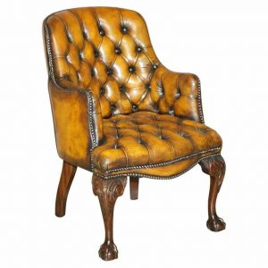RESTORED HARRODS LONDON CHESTERFIELD BROWN LEATHER ARMCHAIR CLAW & BALL FEET