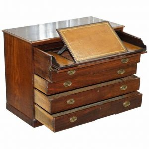 ROBERT GILLOWS II 1790 WRITING LIBRARY MAHOGANY CHEST OF DRAWERS LEATHER SLOPE