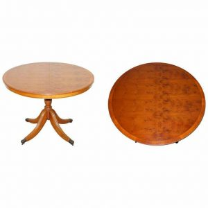 STUNNING BURR YEW WOOD ROUND TILT TOP DINING OR OCCASIONAL CENTRE TABLE PATINA!