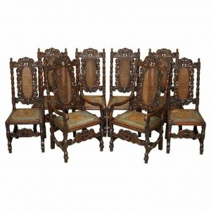 EIGHT CARVED JACOBEAN THRONE DINING CHAIRS HAND PAINTED & EMBOSSED LEATHER SEATS