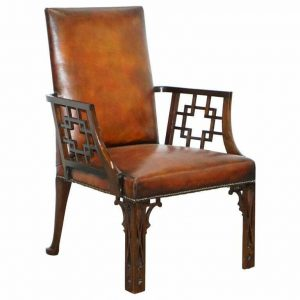 RARE CIRCA 1830 CHINESE CHIPPENDALE FULLY RESTORED BROWN LEATHER ARMCHAIR