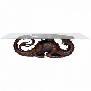 RRP £22000 MAHOGANY NEIL BUSBY DRAGON 12 PERSON DINING TABLE RUBY EYES 22CT GOLD