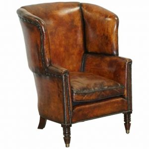 SUBLIME RESTORED CHESTNUT BROWN LEATHER REGENCY 1810 PORTERS WINGBACK ARMCHAIR