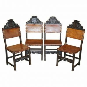 4 VICTORIAN OAK CARVED DINING CHAIRS ARMORIAL CREST COAT OF ARMS BROWN LEATHER