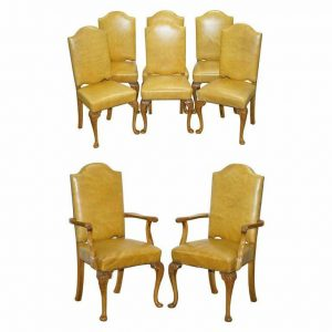 8 ART DECO WALNUT HAND CARVED LEATHER DENBY & SPINKS DINING CHAIRS PART OF SUITE