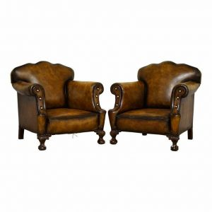 LARGE PAIR OF RESTORED VICTORIAN CIGAR BROWN LEATHER CLAW & BALL FEET ARMCHAIRS