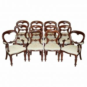 LOVELY SUITE OF 12 HARRODS LONDON MEDALLION BACK CARVED MAHOGANY DINING CHAIRS