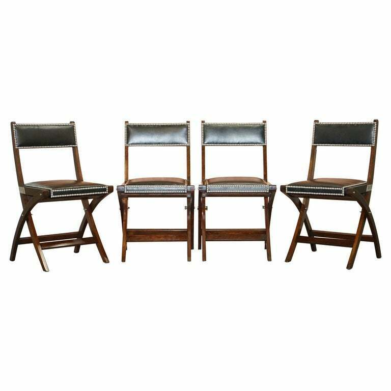 Rrp 5400 Four Kennedy Harrods London, Leather Campaign Dining Chair