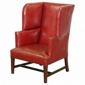 SUBLIME EARLY GEORGIAN CIRCA 1780 PORTERS WINGBACK ARMCHAIR POSTBOX RED LEATHER