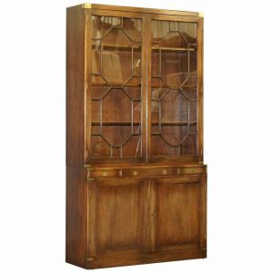BEVAN FUNNELL MILITARY CAMPAIGN ASTRAL GLAZED LIBRARY BOOKCASE DRINKS CABINET