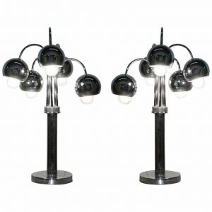LARGE PAIR OF ORIGINAL AMERICAN ATOMIC CIRCA 1940'S POLISHED CHROME TABLE LAMPS