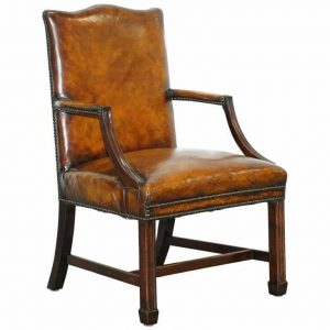 LOVELY EARLY 19TH CENTURY RESTORED GAINSBOROUGH CARVER ARMCHAIR IN BROWN LEATHER