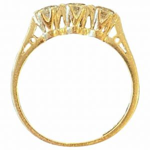 0.61 CT DIAMOND & 950 PLATINUM THREE STONE DIAMOND ENGAGEMENT ETERNITY RING. 3