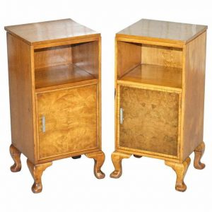 PAIR OF WARING & GILLOW 1932 BURR WALNUT BEDSIDE CUPBOARDS OR LAMP WINE TABLES