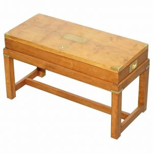 RARE BURR YEW WOOD MILITARY CAMPAIGN GUN CASE COFFEE SIDE TABLE ON ORIGINAL BASE