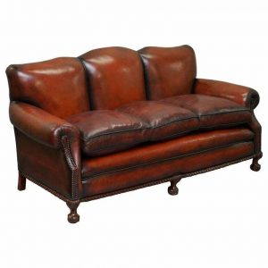 RESTORED VICTORIAN HAND DYED BROWN LEATHER SOFA CLAW & BALL FEET FEATHER CUSHION