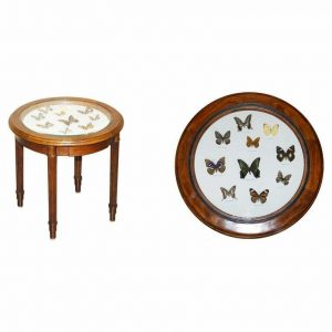 STUNNING OCCASIONAL SIDE TABLE WITH BUTTERFLY ENTOMOLOGY DISPLAY CASE MUST SEE