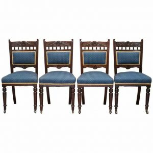 STUNNING SUITE OF ORIGINAL SOLID MAHOGNAY VICTORIAN MAPLE & CO DINING CHAIRS