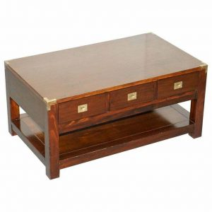 SUBSTANTIAL MILITARY CAMPAIGN STYLE MAHOGANY AND BRASS COFFEE TABLE WITH DRAWERS
