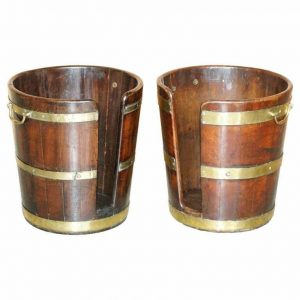 LARGE PAIR OF GEORGE III 1760 PLATE OR PETE MILITARY CAMPAIGN BUCKETS GEORGIAN