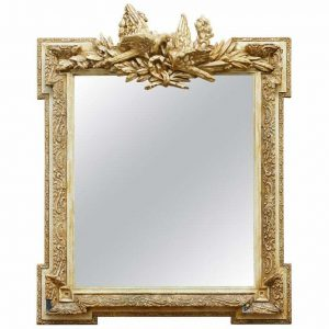ORNATELY DECORATED WEDDING MIRROR DEPICTING TWO TURTLE DOVES KISSING GILT DECOR