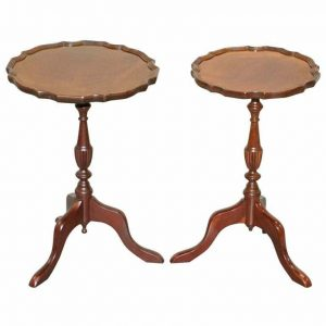 """PAIR OF BEVAN FUNELL """"HIS & HER"""" VINTAGE MAHOGANY TRIPOD LAMP SIDE END TABLES"""
