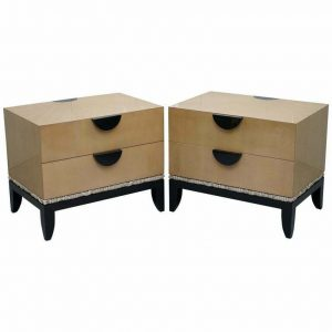 PAIR OF RRP £23,500 J ROBERT SCOTT CLOUD CHESTS OF DRAWERS 14CT GOLD LEAF GLAZE