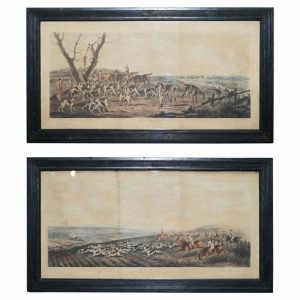 RARE PAIR OF HUNTING PRINTS THE DEATH & THE CHASE 1819 T SUTHERLAND SCULPT