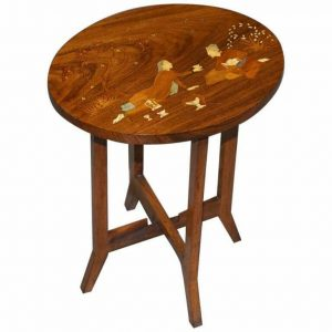RESTORED ANTIQUE JAPANESE SHIBAYAMA INLAID ROMANTIC LOVERS ROSEWOOD SIDE TABLE