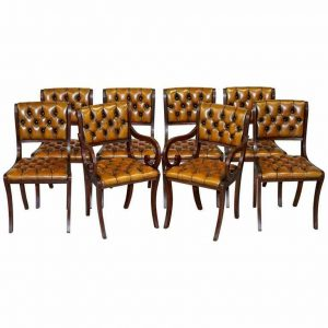 SET OF EIGHT RESTORED VINTAGE CHESTERFIELD MAHOGANY BROWN LEATHER DINING CHAIRS