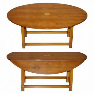 WORKSHOP NEW BEVAN FUNNELL BURR YEW WOOD EXTENDING OVAL CAMPAIGN COFFEE TABLE