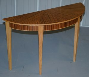 BRAND NEW EX DISPLAY BEVAN FUNNELL PHOENIX ZEBRANO WOOD DEMI LUNE CONSOLE TABLE