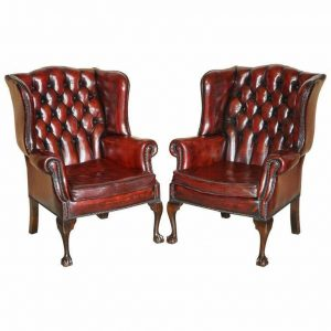 PAIR OF RESTORED CLAW & BALL CHESTERFIELD WINGBACK BORDEAUX LEATHER ARMCHAIRS