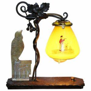 STUNNING CIRCA 1930 BRONZE BIRD & WROUGHT IRON TABLE LAMP PAINTED GLASS SHADE