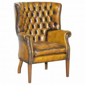 FULLY RESTORED VINTAGE CHESTERFIELD PORTERS WINGBACK ARMCHAIR BROWN LEATHER