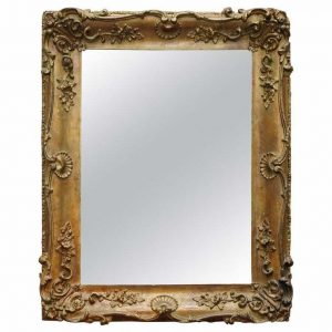 LOVELY CIRCA 1880-1900 FRENCH GILT WOOD WALL MIRROR WITH ORNATELY CARVED FRAME