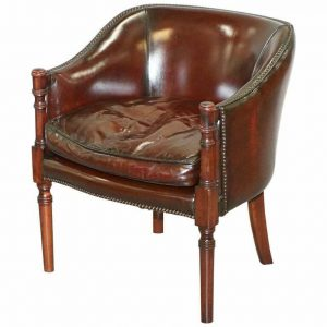 LOVELY FULLY RESTORED VINTAGE HAND DYED STUDDED BROWN LEATHER TUB CLUB ARMCHAIR