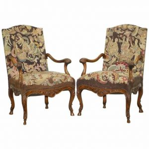 PAIR OF FRENCH CIRCA 1850 WALNUT TAPESTRY EMBROIDERED FAUTEUILS ARMCHAIRS