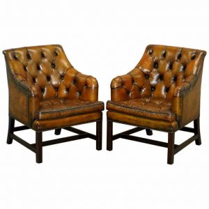 PAIR OF RRP £10,400 GEORGE SMITH RESTORED BROWN LEATHER GEORGIAN ARMCHAIRS DESK