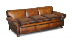 RESTORED HAND DYED BROWN LEATHER ANTIQUE VICTORIAN 3 – 4 SEAT SOFA FEATHER SEATS