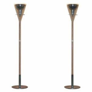RRP £4500 PAIR OF FONTANA ARTE FLUTE MAGNUM FLOOR STANDING GLASS & CHROME LAMP