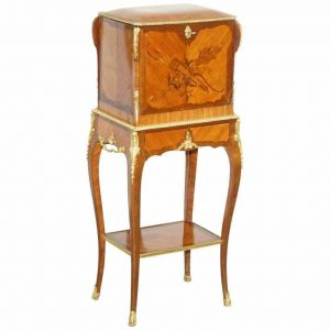 STAMPED ALFRED BEURDELEY TULIP & KING WOOD BRONZE JEWELLERY CASKET ON STAND