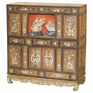 VERY RARE 19TH CENTURY CHINESE MOTHER OF PEARL INLAID CABINET CUPBOARD DRAWERS