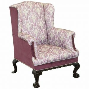 FULLY RESTORED AND REUPHOLSTERED VICTORIAN CLAW & BALL FEE WINGBACK ARMCHAIR