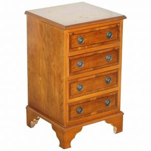 LOVELY BURR YEW WOOD SIDE TABLE SIZED CHEST OF DRAWERS GEORGIAN STYLE VERY FINE