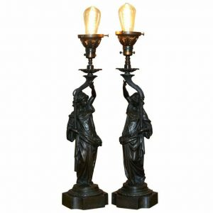 PAIR OF LATE VICTORIAN FRENCH SOLID BRONZE TABLE LAMPS OF ART NOUVEAU MAIDENS