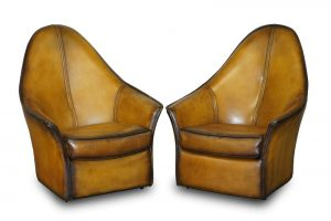 PAIR OF RESTORED ART MODERN CURVED BACK BROWN LEATHER ARMCHAIRS PART OF SUITE