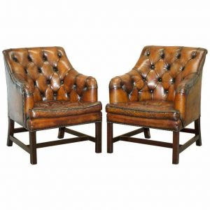 PAIR OF RRP £10400 GEORGE SMITH RESTORED BROWN LEATHER OCCASIONAL ARMCHAIRS DESK